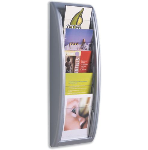 Fast Paper Quick Fit Literature Holder Wall-mount 5 x A5 Pockets W228xD95xH650mm Aluminium Ref 4063.35