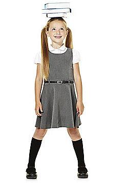 F&F School Girls Pinafore with Belt - Grey