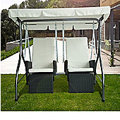 Outsunny 2 Seater Cushioned Garden Rattan Swing Chair in Black