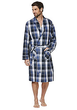 F&F Checked Woven Dressing Gown - Blue