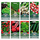 Mr Fothergill's Seeds - Grow Your Own Salad Bowl Vegetable Collection - 8pc Multipack