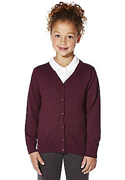 F&F School Girls Ribbed Cardigan with As New Technology - Burgundy