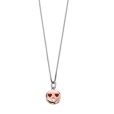 D For Diamond Rose Gold Red Heart Eyes Face Pendant