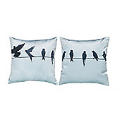 Wire Birds Design Extra Soft Luxury Velvet Twin Cushion Sets of Two