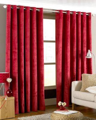 Riva Home Imperial Velvet Woven Lined Eyelet Curtains, Red, 66 x 90 Inch