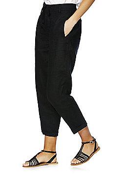F&F Linen Ankle Grazer Trousers - Black