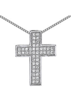 Rhodium Plated Sterling Silver Round Brilliant Cubic Zirconia Pave Cross Pendant Necklace 18 inch
