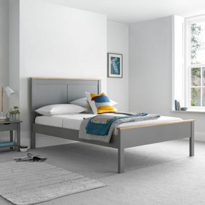 Happy Beds Vigo Wood Low Foot End Bed with Open Coil Spring Mattress - Grey - 3ft Single