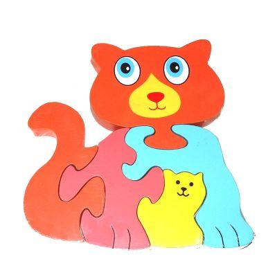 Traditional Wood 'n' Fun Animal Puzzles - Ackerman Toys Cat 12m+