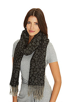 Pieces Leopard Print Scarf - Grey & Black
