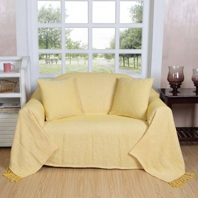 Homescapes Cotton Halden Chevron Yellow Throw with Tassels, 150 x 200 cm
