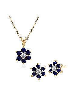 Gemondo 9ct Yellow Gold Lapis Lazuli & Diamond Floral Stud Earring & 45cm Necklace Set