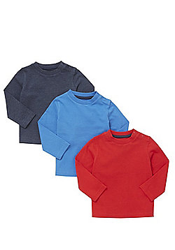 F&F 3 Pack of Colour Block T-Shirts - Multi