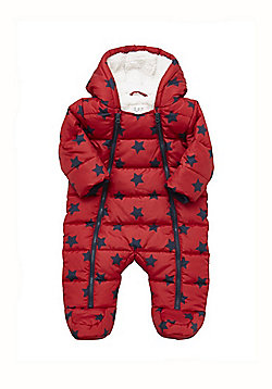 F&F Star Print Quilted Shower Resistant Pramsuit - Multi