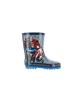 Boys Marvel Avengers Grey & Blue Wellies Wellington Rain Boots Sizes UK Kids 10-3 - Blue