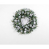 Pre-lit Silver Glitter Frosted Wreath, 60cm (50 white LEDs)