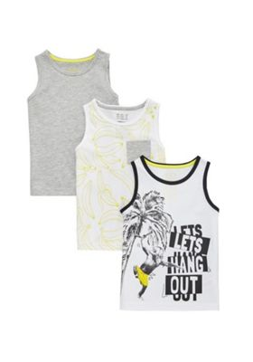 F&F 3 Pack of Banana Print Vests Multi 12-18 months