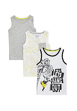 F&F 3 Pack of Banana Print Vests - Multi