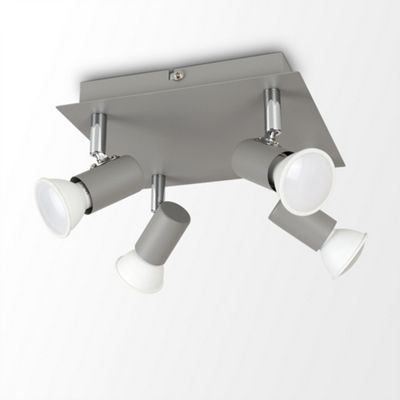 MiniSun Square 4 Way Ceiling Spotlight - Cement