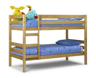 Happy Beds Wyoming Wood Kids Bunk Bed with 2 Orthopaedic Mattresses - Antique Pine - 3ft Single
