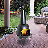Outsunny Steel Fire Pit Fireplace Outdoor Garden Brazier Patio Heater Chimney Black