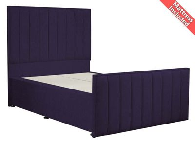 Luxan Hampstead Dun Colours Bed Set - Purple - Small Single 2ft6 - 2 Drawers