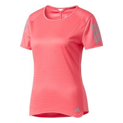 adidas Response Short Sleeve Womens Running Fitness T-Shirt Pink - UK 8-10