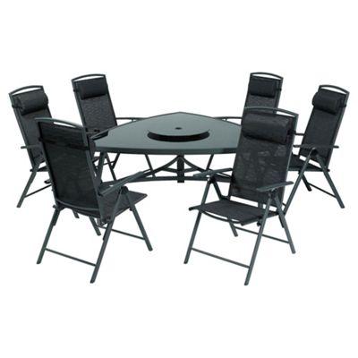 Valencia 150 cm Triangular Glass Table & 6 Recliner Dining Set - Black