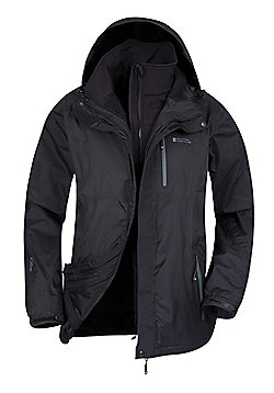 Mountain Warehouse Bracken Extreme 3 in 1 Mens Waterproof Jacket - Black