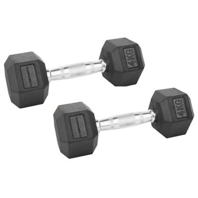 Confidence Fitness 2 X 4Kg Anti-Roll Hex Rubber-Coated Cast Dumbbells Weights