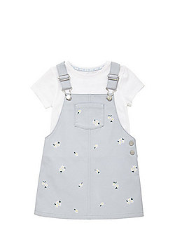 F&F T-Shirt and Daisy Embroidered Pinafore Dress Set - Blue
