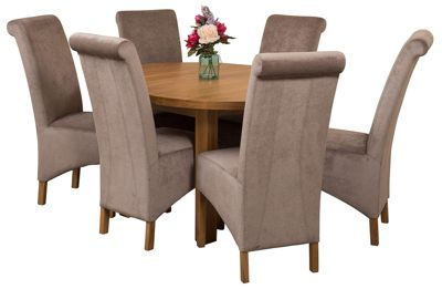 Edmonton Extending Oval Solid Oak Dining Set Table + 6 Grey Fabric Chairs