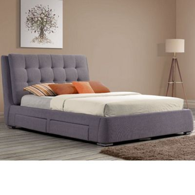 Happy Beds Mayfair Fabric 4 Drawer Storage Bed with Memory Foam Mattress - Grey - 6ft Super King
