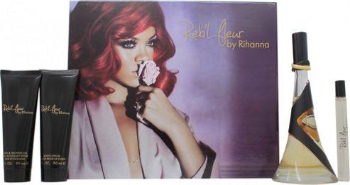 Rihanna Reb'l Fleur Gift Set 100ml EDP + 90ml Body Lotion + 90ml Shower Gel + 10ml Roll-On For Women