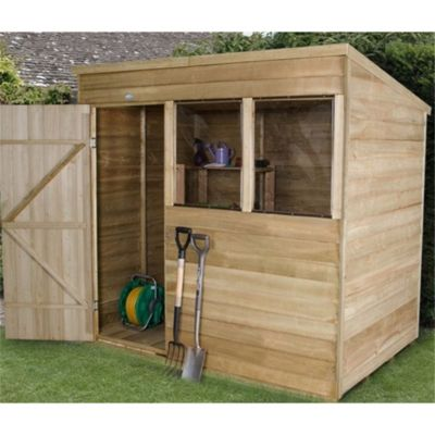 7 x 5 Rock Pressure Treated Overlap Wooden Pent Shed 7ft x 5ft (2.44m x 1.52m)