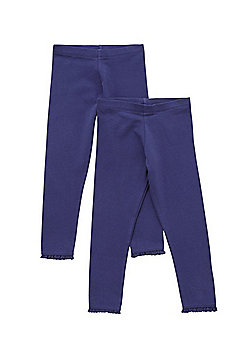 F&F 2 Pack of Crochet Trim Leggings with As New Technology - Navy