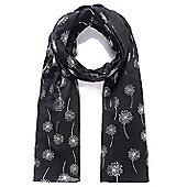 Black and Silver Foil Dandelion Print Scarf