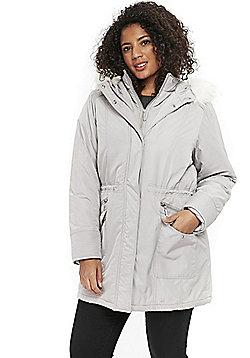Evans Faux Fur Hood Plus Size Parka - Silver grey