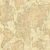 Crown Voyager Parchment Wallpaper