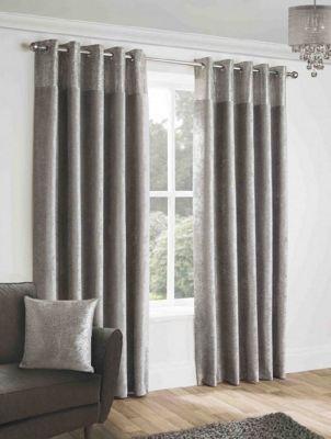 Novella Silver - Eyelet Curtains - 46x90
