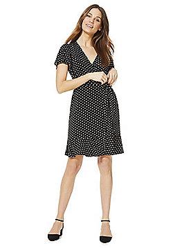 F&F Polka Dot Jersey Wrap Dress - Black & White