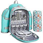 VonShef 4 Person Picnic Backpack Rucksack Bag - Aqua Geo