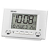 Seiko QHL075W LCD Dual Alarm Clock│Calendar│Thermometer│Snooze-Light│White│