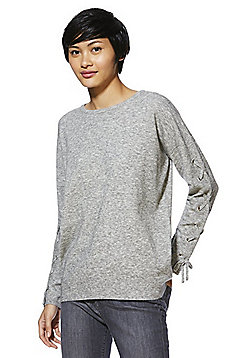 F&F Eyelet Lace-Up Sleeve Jumper - Grey