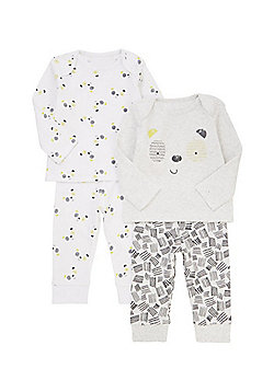 F&F 2 Pack of Monochrome Panda Pyjama Sets - White & Black