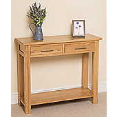 Oslo Sold Oak 2 Drawer Console Table