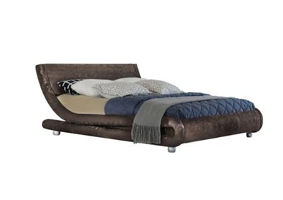 Comfy Living 5ft King Size Crushed Velvet Curved Bed Frame in Brown with 1000 Pocket Comfort Mattress