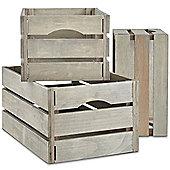 VonHaus Set of 3 Rustic/Vintage-Style Grey Wooden Storage Crates