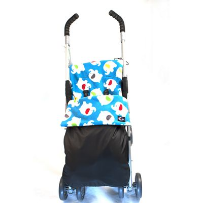 Genesis Shower Proof Blue Elephants Black Universal Footmuff Cosy Toes