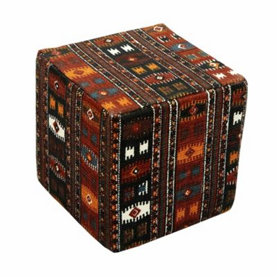 Homescapes Cotton Cube Pouffe Multicolour Kilim Print, 36 x 36 x 38 cm